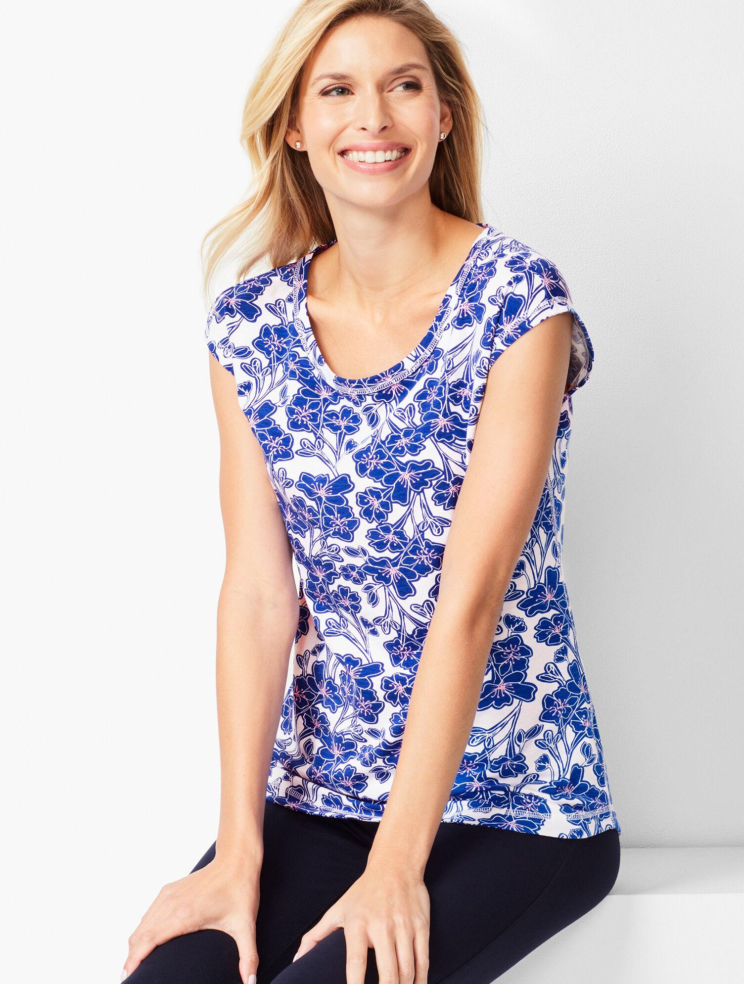 Talbots Floral Skirt Cotton Blend Multi-color Straight White Blue Size 4 Petite Women's Clothing