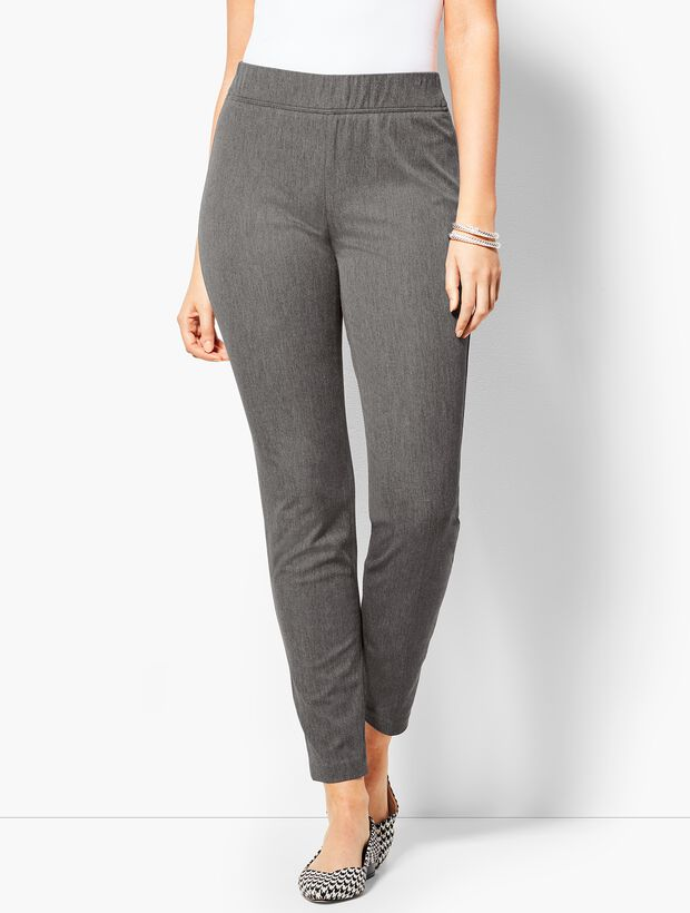 Charcoal Cotton Bi-Stretch Pull-On Skinny Ankle Pant - Curvy Fit