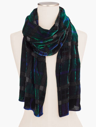 Black Watch Plaid Velvet Oblong Scarf