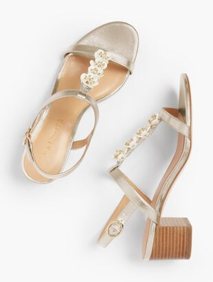 Mimi Flower-Embellished Block-Heel Sandals - Metallic