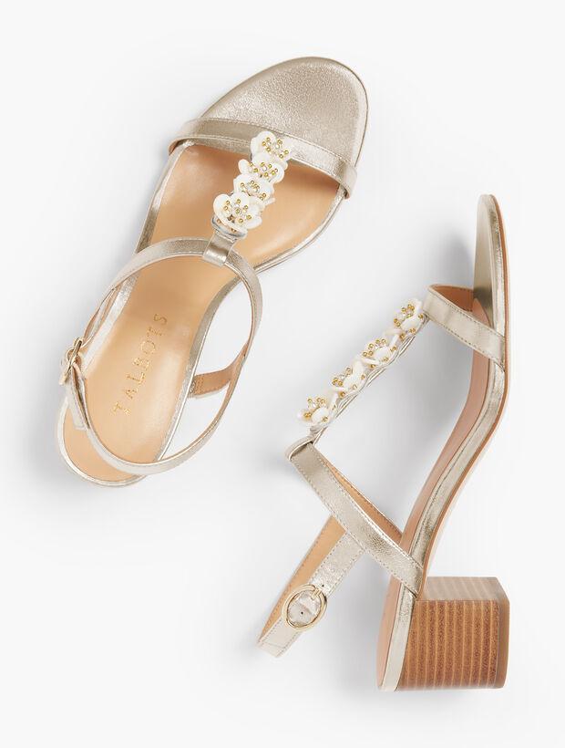 Mimi Flower-Embellished Block-Heel Sandals - Metallic