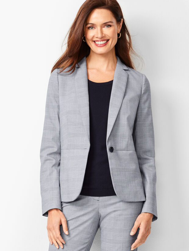 Glen Plaid Peplum Blazer
