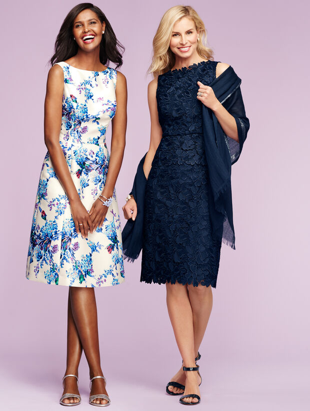 Mixed-Flowers Fit-And-Flare Dress