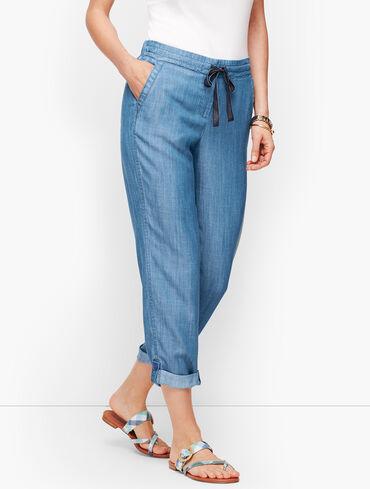 Summer Twill Slim Leg Crop Pants - TENCEL™