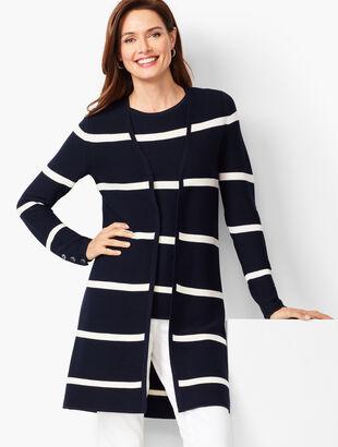 Open-Front Modern Ottoman Cardigan - Stripe