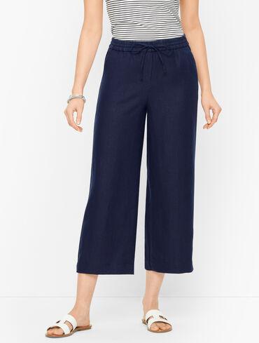 Linen Wide Leg Crop Pants - Solid