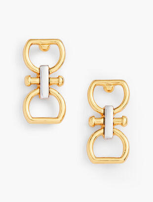 Equestrian Links Two Tone Earrings
