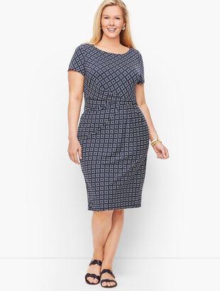 Knit Jersey Draped Sheath Dress