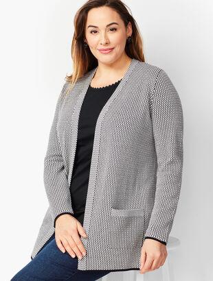 Plus Size - Mini Jacquard Open-Front Cardigan