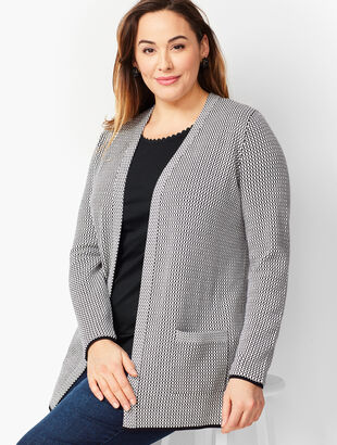 Plus Size Mini Jacquard Open-Front Cardigan