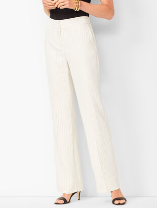 Crepe Wide-Leg Trousers - Stripe