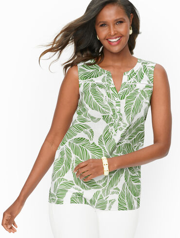 Split Neck Voile Shell - Layered Palm Leaves