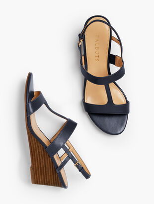 Royce Vachetta T-Strap Wedge Sandals