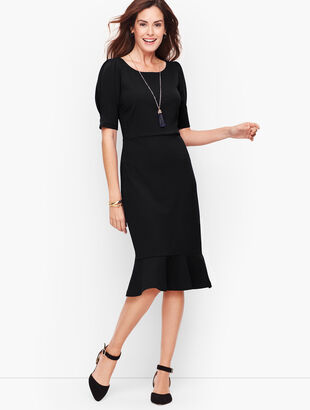 Crepe Flounce Sleeve A-Line Dress