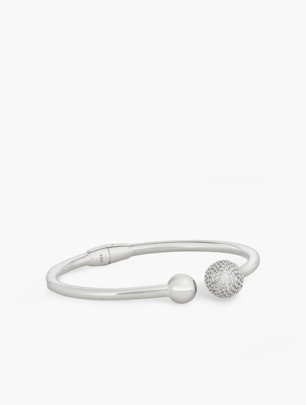 Sterling Silver Pavé Sphere Bangle