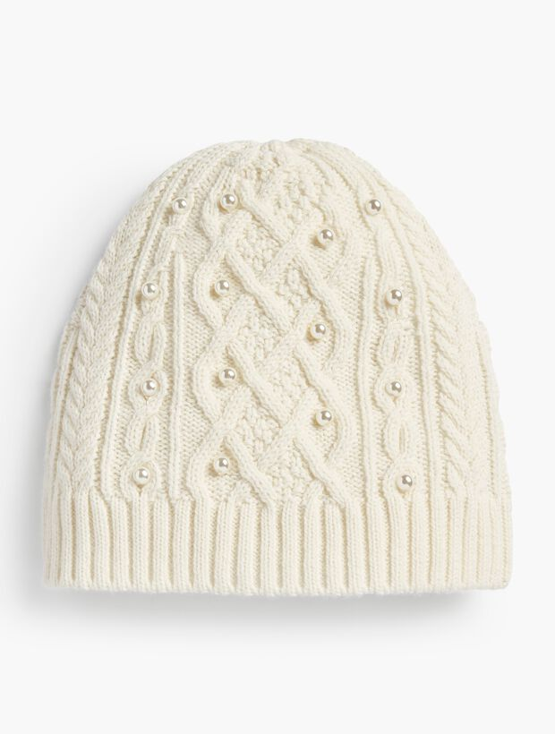 Embellished Cable-Knit Hat