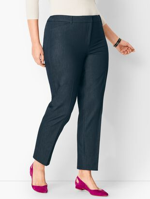 Plus Size High-Waist Tailored Ankle Pants - Polished Denim