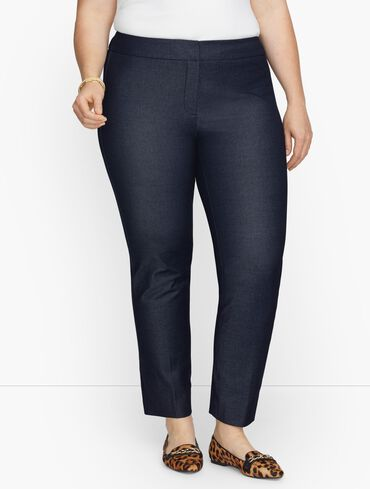 Plus Exclusive Talbots Chatham Fly Front Ankle Pants - Polished Denim
