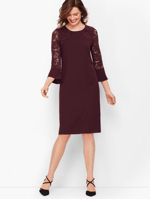 Crepe & Lace Shift Dress