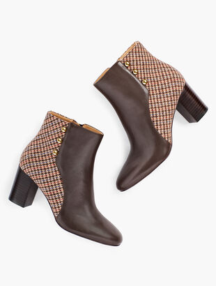 Lilia Side-Button Booties - Leather & Tweed
