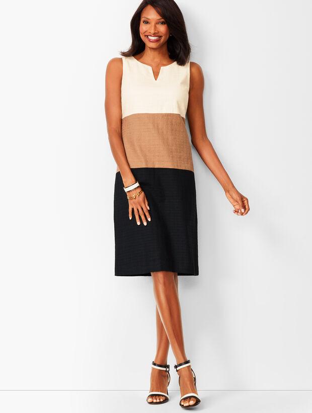 Colorblock Textured Sheath Dress