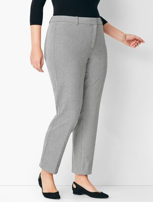 Plus Size High-Waist Tailored Ankle Pants - Dobby