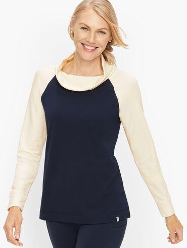 Colorblock Cowlneck Pullover
