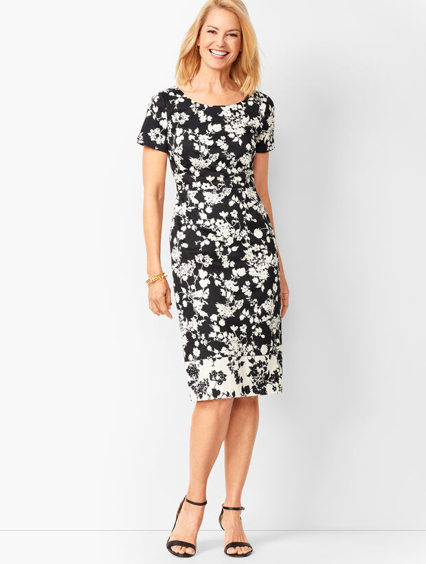Floral Bateau-Neck Sheath Dress
