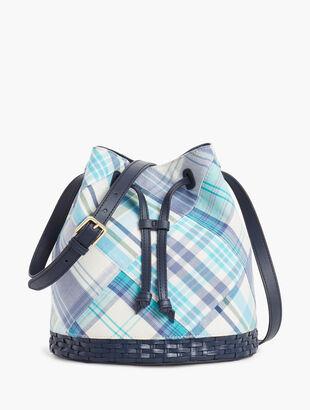 Madras Drawstring Bucket Bag