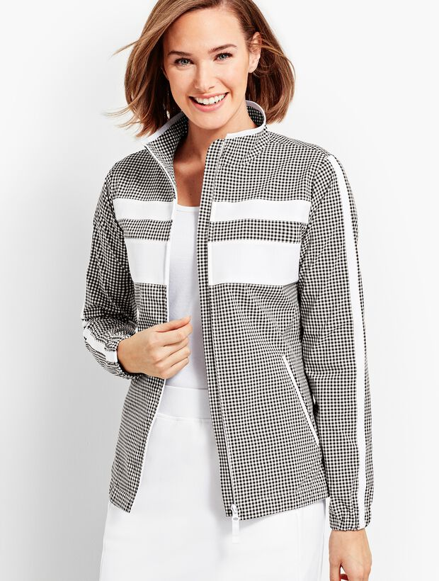 Gingham Woven Colorblock Jacket