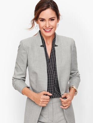 Tailored Sharkskin One Button Blazer