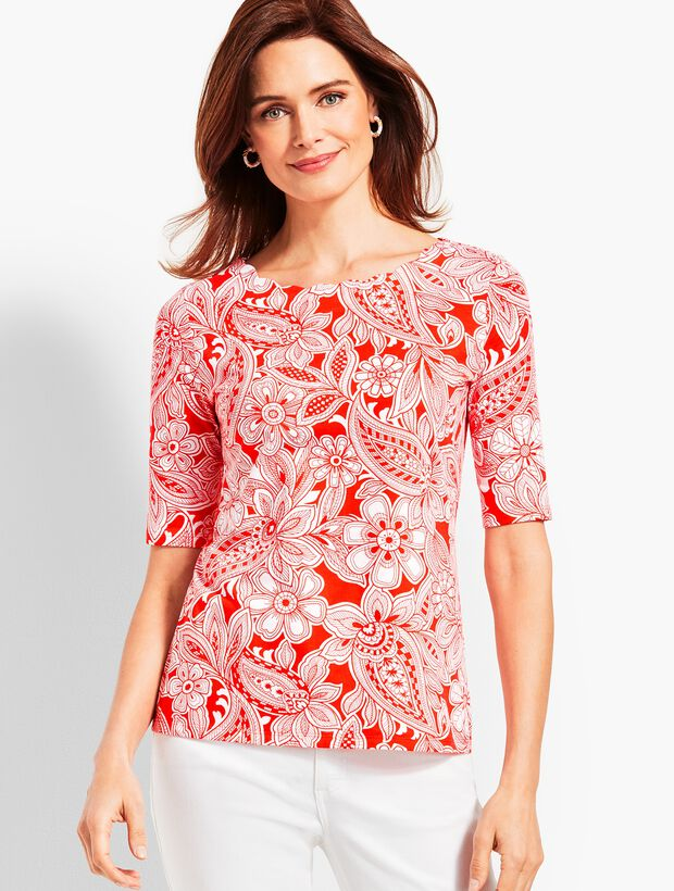 cafa2fd87 Scallop-Neck Elbow-Sleeve Tee-Etched Paisley | Talbots