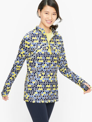 On the Move Half Zip Mockneck Pullover - Row of Hearts