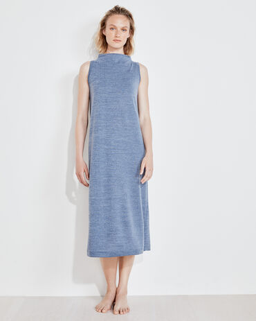 Marled Knit Mock Neck Midi Dress