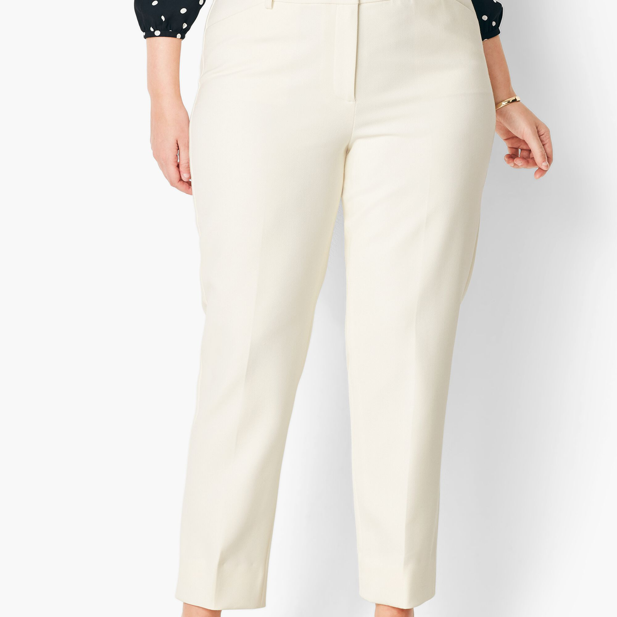 4eccbbe046 Plus Size High-Waist Tailored Ankle Pant - Ivory Opens a New Window.