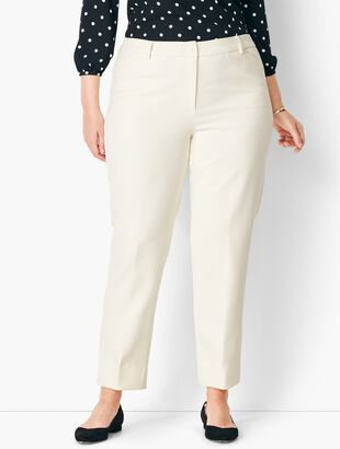 Plus Size High-Waist Tailored Ankle Pant - Ivory