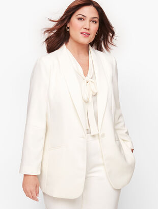 Stretch Crepe Single Button Blazer