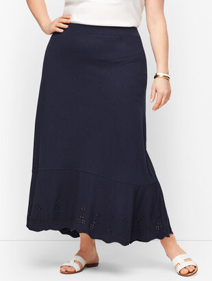 Embroidered Knit Maxi Skirt
