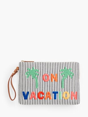 Embroidered Clutch - 'On Vacation'