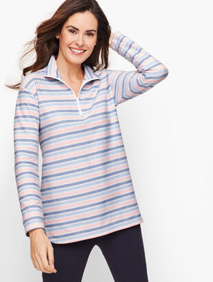 Textured Stripe Half Zip Pullover