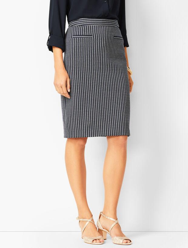 Stripe Jacquard Pencil Skirt