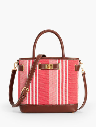 Leather-Trim Tote Bag -Stripe
