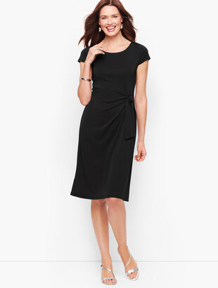 Faux-Wrap Jersey Shift Dress