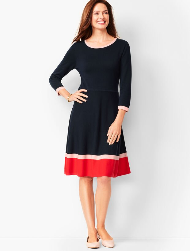 Tri-Color Fit & Flare Sweater Dress