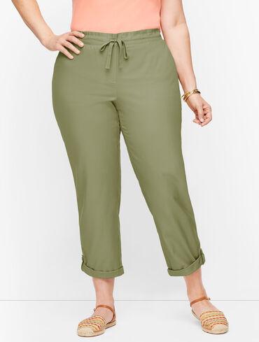 Soft Twill Slim Leg Crop Pants