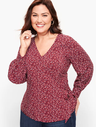 Poet Sleeve Wrap Top - Floral