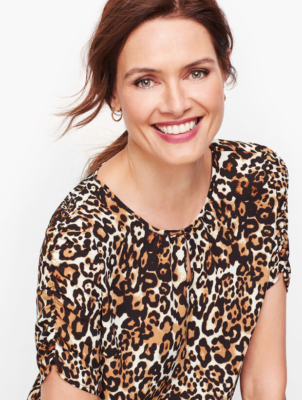 Leopard Ruched-Sleeve Top