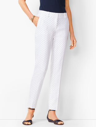 Linen Slim Ankle Pants - Dot