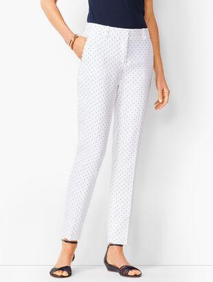 Linen Slim Ankle Pants - Dot