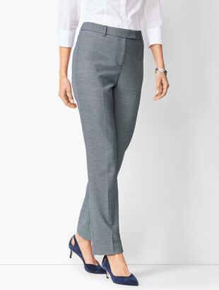 Bi-Stretch High-Waist Straight-Leg Pants - Birdseye